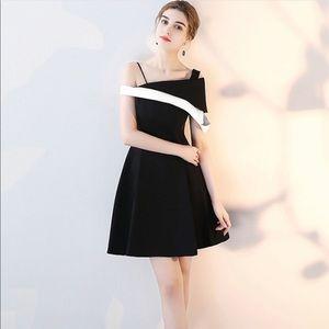 Black Contrast Skew Neckline Slip Mini Dress